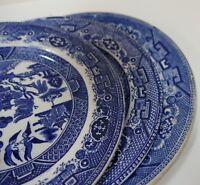 "GGG409 LOT OF 3 8"" BLUE WILLOW PLATES: Adderleys, Semi-Chine etc."