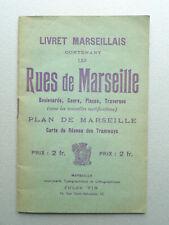 RUES DE MARSEILLE Livret Marseillais Plan Réseau Tramways Guide ancien