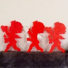 Vintage Melted Popcorn Set Of 3 Valentine Cupids 1960's-1970's