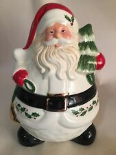 "Lenox Holiday Santa Claus Cookie Treat Jar Gold Trim Small 8"" Christmas New"