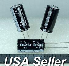 (Lot of 5) 220uF 100V Rubycon YK Low-ESR 13x25 Radial Capacitors - Fast Shipping