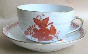 HEREND APPONYI CHINESE BOUQUET AOG RUST 1726 CUP & SAUCER MINT/UNUSED (Ref7226)