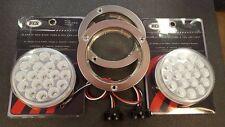 "(2) 19 LED Trux 4"" Round Clear Lens Chrome/Mirror Finish Stop Tail Flange Kit"