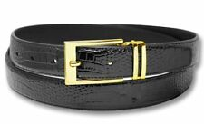 Biagio Croc Embossed BLACK Men's Bonded Leather Belt Gold-Tone Buckle sz 36