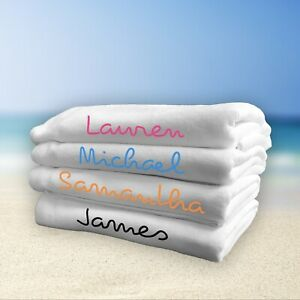 Personalised Beach Towel Love Inspired Island White Large Gym Travel Any Name
