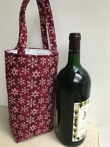 Wine Bottle Bag / Hostess Gift Bag /  White Snowflakes on Red - Holiday Time!