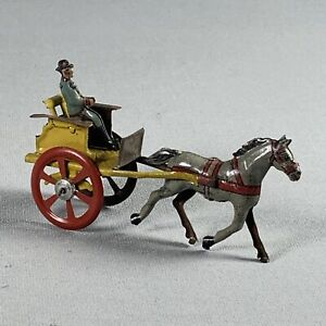 Antique German Miniature Tin Penny Toy Cart & Horse With Driver Ges. Gesch