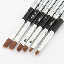 6pcs Detachable UV Gel Brushes Set Acrylic Nail Gel Nail Art Flat Brush Pen Tool