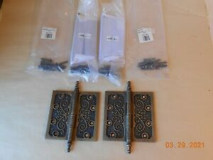 4 VICTORIAN 4 1/2 INCH DOOR HINGE  ANTIQUE BRASS FINISH NOS NEW REPRODUCTION