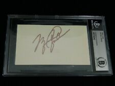 Michael Jordan Signed 3x5 Index Card Beckett Encapsulated Bulls NBA HOF