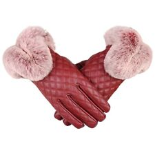 Women's Winter Genuine Sheepskin Leather Gloves Real Rex Rabbit Fur Thick W N9s8