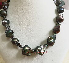 """AAA REAL NATURAL 17"""" 20mm south sea baroque black pearl necklace silver"""
