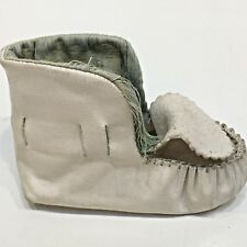 """White Leather Baby's Left Shoe Moccasin, Size 1, About 4"""" Long"""