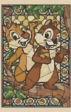 Counted Cross Stitch CHIPMUNKS Stained Glass - COMPLETE KIT #10-60 KIT