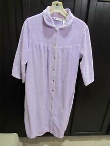 National Lavender Purple Snap Front Chenille Gripper Robe | Size LARGE