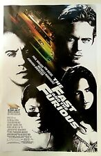 """The Fast and The Furious (2001) Movie Poster Paul Walker 11"""" x 17"""" original"""