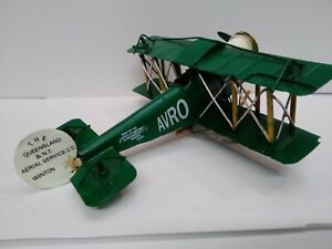 BOYLE HAND MADE tin toy of QUEENSLAND AVRO  BIPLANE aprox 190mm long x 170mm  W
