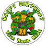 """TEENAGE MUTANT TURTLES PARTY - 7.5"""" PERSONALISED ROUND EDIBLE ICING CAKE TOPPER"""