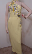 Mr Blackwell Custom Yellow Rhinestone Jeweled One Shoulder Halter Sash Gown 6