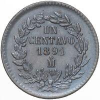 1891-Mo MEXICO 1 ONE CENTAVO DEEP BLUE TONED COLOR HIGH GRADE (DR)