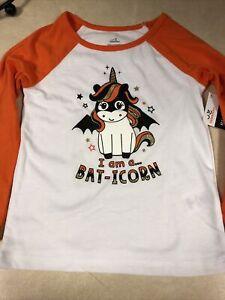 Halloween Toddler Girls T-shirt 3T Baticorn Unicorn L/S Orange Glitter Horn New