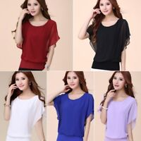 Fashion Women Ladies Summer Loose Tops Batwing Sleeve T Shirt Casual Blouse Plus