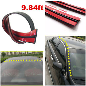 9.84ft T Shape Car Door Window Seal Strip Anti-Dust Wind Noise Rubber Trim Kit