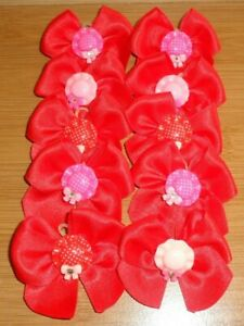 10 Hand Tied Red Grooming Bows HAT WITH DIAMANTE Centre