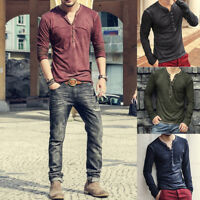 UK Mens Cotton Long Sleeve T-shirt V Neck Casual Slim Fit Muscle Tee Tops New