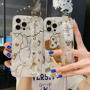 Cute Bling Shell Plating Disney Wristband Stand Case for iPhone 12 Pro Max 11 XR