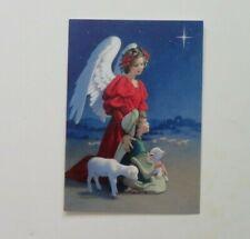 Angel with Shepherd Boy Vintage American Greetings Christmas Card w/envelope