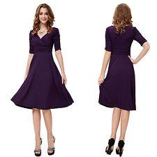 V-Neck Patternless 3/4 Sleeve Plus Size Dresses for Women