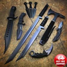 10Pcs Military Tactical Hunting Fixed Blade Survival Knife Ax Sword Camping Set