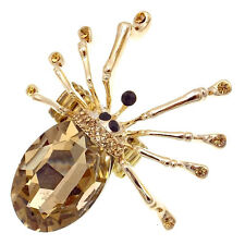 Spider Halloween Cocktail Finger Ring Costume Jewelry Rhinestone Brown Gold Tone