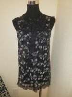Anna Sui Sheer Black White blouse Size M Medium