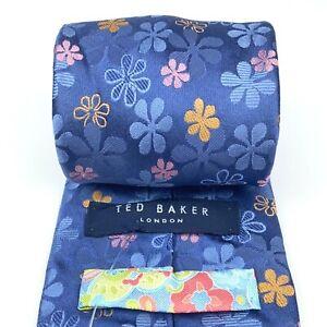 TED BAKER London Tie Silk Hand Tailored Soft Anemone Purple Floral Woven Necktie