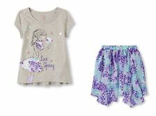 Children's Place Blue Embellished Hi-Low Top & Printed Skirt Size XS 4