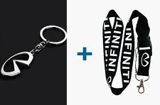 INFINITI Silver Metal Key Chain & 22 inch Lanyard ID Badge Holder 2 in 1 Package