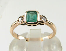 DAINTY 9K 9CT ROSE GOLD COLOMBIAN EMERALD DIAMOND ART DECO INS RING FREE RESIZE