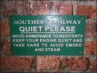 Cast Iron Green Train Sign  SOUTHERN RAILWAY  QUIET PLEASE  Keep Engine Quiet