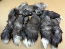 1 XL Tanned Silver Fox Tail/Crafts/100% USA Real Fur/Purse/Oakland Raider Tail