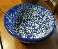 Blue Spongeware Speckled Stone Ware Serving Bowl ARTIST SIGNED