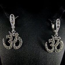 "Earrings with sacred silaba ""on"" in antique silver champagne topaz color"