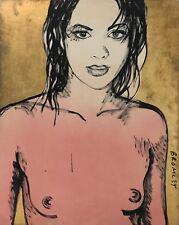 "DAVID BROMLEY Nude ""Belinda"" Polymer & Gold Leaf on Canvas 150cm x 120cm"