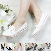 WOMENS LADIES SLIP ON LOAFERS CHUNKY SOLE FLATS BOW PLIMSOLLS PUMPS SHOES SIZE