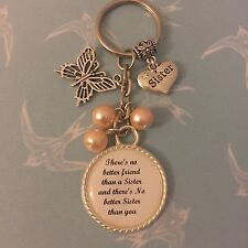 Sister Gift Special Keyring Keepsake Bag Charm Any Colour Beads Any Wording