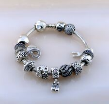 """Pandora ALE Iconic Clasp Bracelet with 14 Charms Silver 925 Size 8"""""""