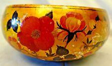 Kashmir Art Laquer and Brass Bowl Vintage 70s-80s Handmade Rara Collectible old