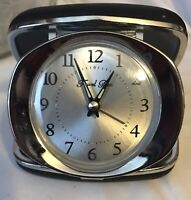 Vintage Black Case With Silver Travel Ben Clock