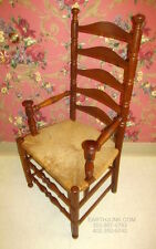 Antiqued Tavern Pine Ladderback Arm Chair Button Top Arms Ethan Allen style